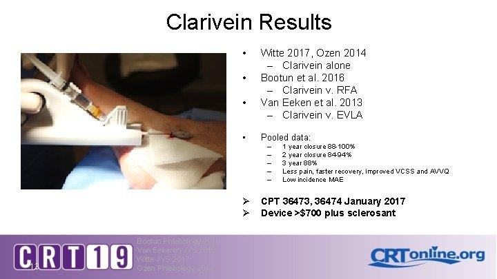 Clarivein Results • • Witte 2017, Ozen 2014 – Clarivein alone Bootun et al.