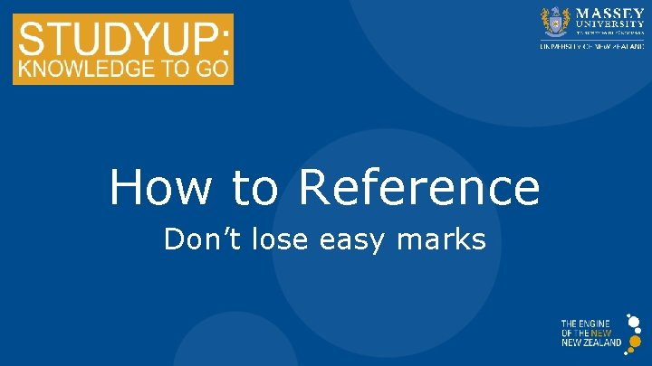 How to Reference Don't lose easy marks