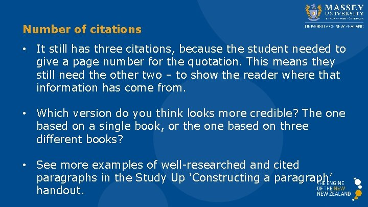 Number of citations • It still has three citations, because the student needed to