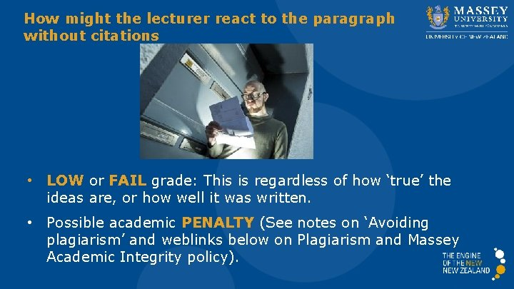 How might the lecturer react to the paragraph without citations • LOW or FAIL