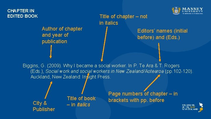 CHAPTER IN EDITED BOOK Author of chapter and year of publication Title of chapter