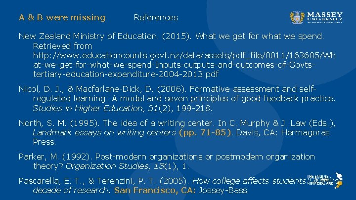 A & B were missing References New Zealand Ministry of Education. (2015). What we