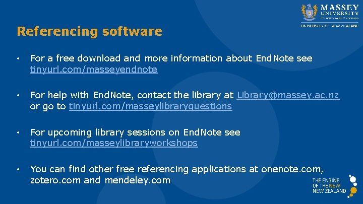 Referencing software • For a free download and more information about End. Note see