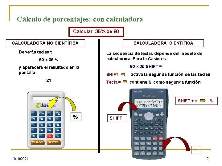 Cálculo de porcentajes: con calculadora Calcular 35% de 60 CALCULADORA NO CIENTÍFICA Deberás teclear: