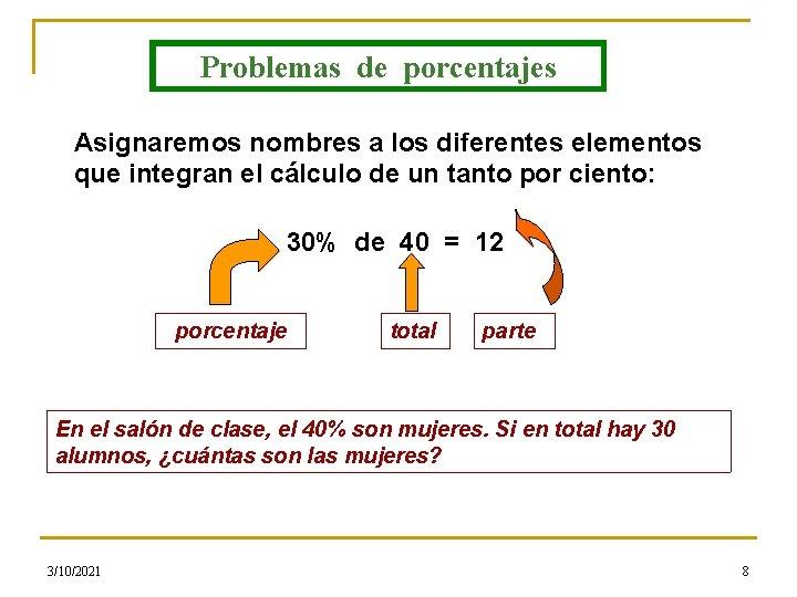 Problemas de porcentajes Asignaremos nombres a los diferentes elementos que integran el cálculo de