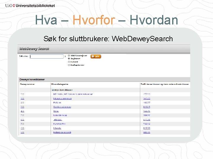 Hva – Hvorfor – Hvordan Søk for sluttbrukere: Web. Dewey. Search