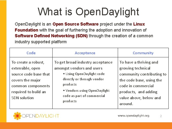 What is Open. Daylight is an Open Source Software project under the Linux Foundation