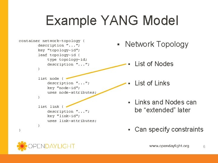 """Example YANG Model container network-topology { description """". . . """"; key """"topology-id""""; leaf"""