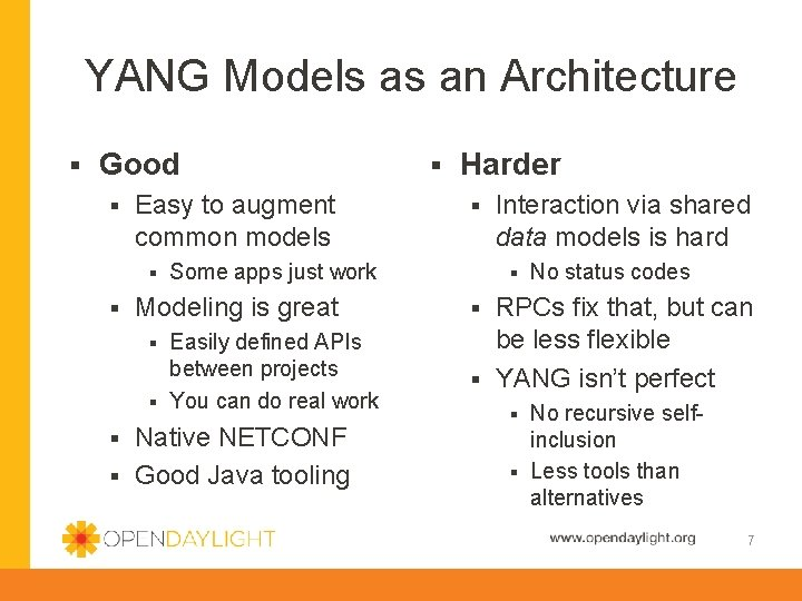 YANG Models as an Architecture § Good § Easy to augment common models §