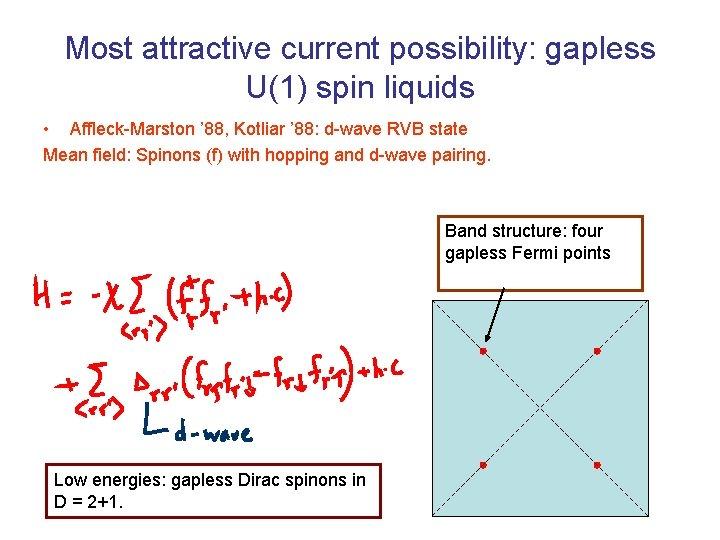 Most attractive current possibility: gapless U(1) spin liquids • Affleck-Marston ' 88, Kotliar '