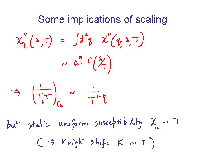 Some implications of scaling