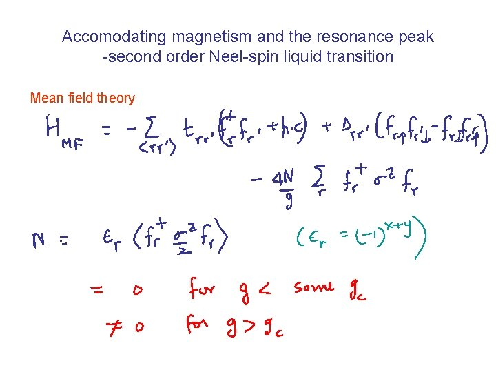 Accomodating magnetism and the resonance peak -second order Neel-spin liquid transition Mean field theory