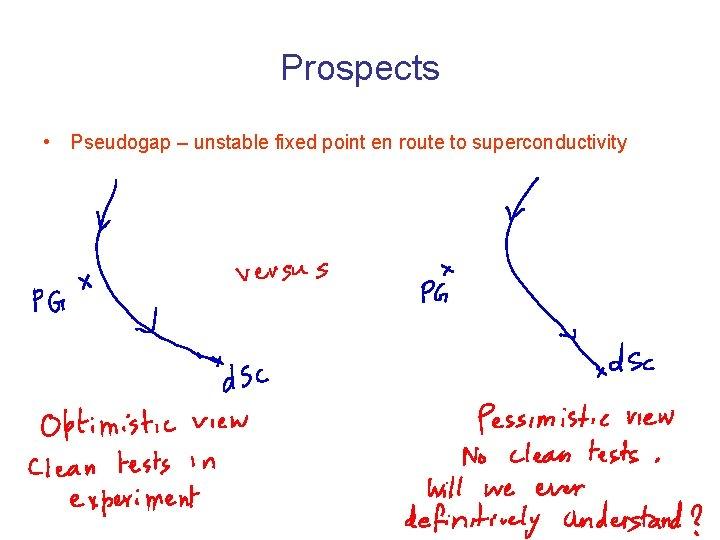 Prospects • Pseudogap – unstable fixed point en route to superconductivity