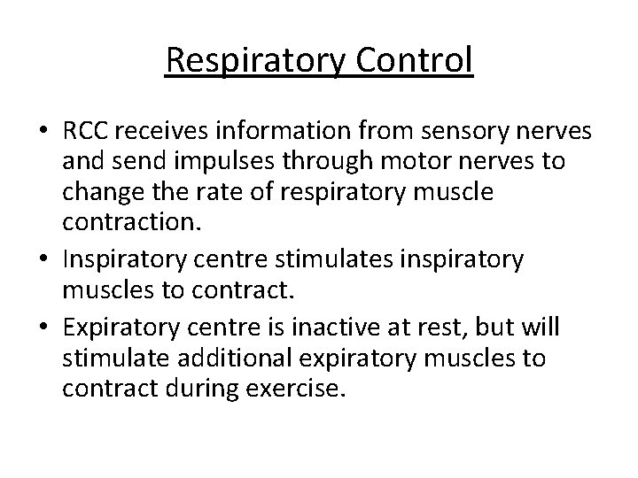 Respiratory Control • RCC receives information from sensory nerves and send impulses through motor