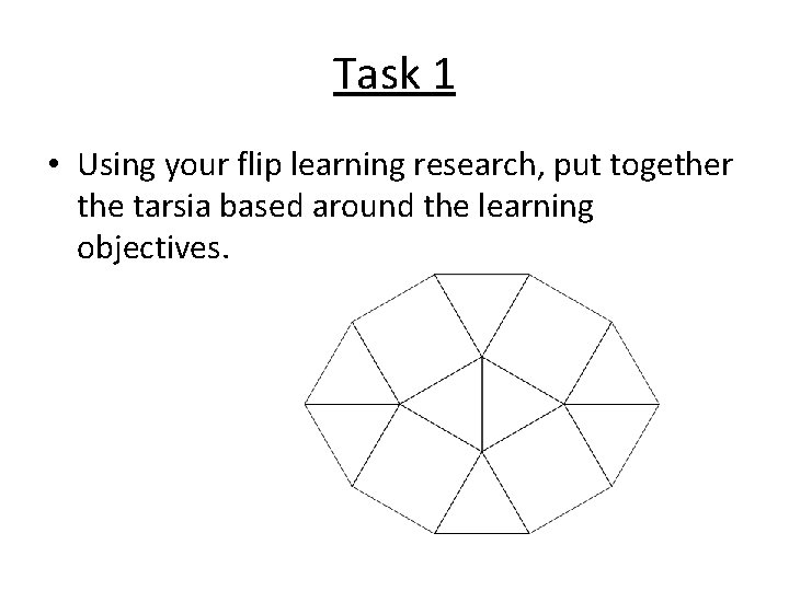 Task 1 • Using your flip learning research, put together the tarsia based around