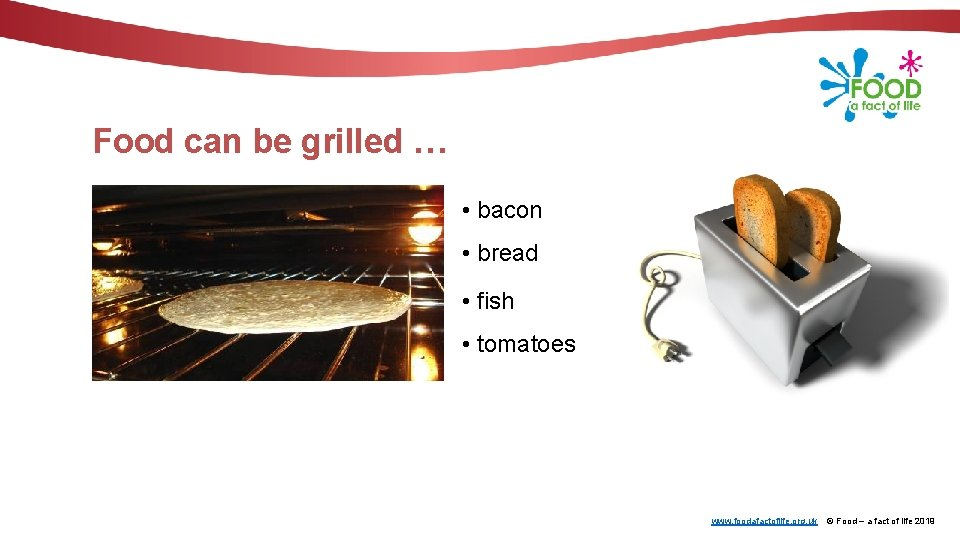 Food can be grilled … • bacon • bread • fish • tomatoes www.