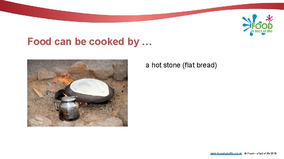 Food can be cooked by … a hot stone (flat bread) www. foodafactoflife. org.