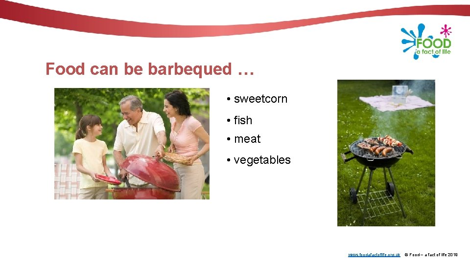 Food can be barbequed … • sweetcorn • fish • meat • vegetables www.