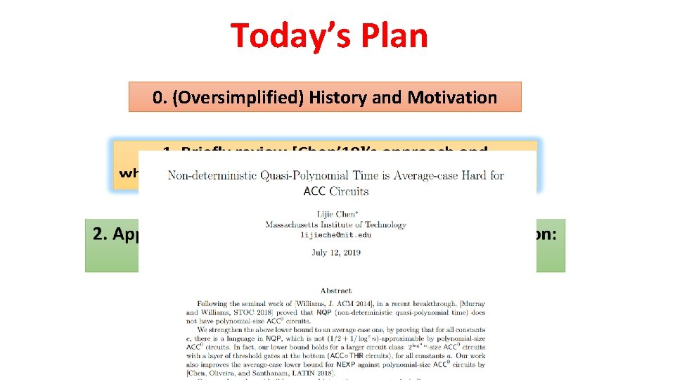 Today's Plan 0. (Oversimplified) History and Motivation