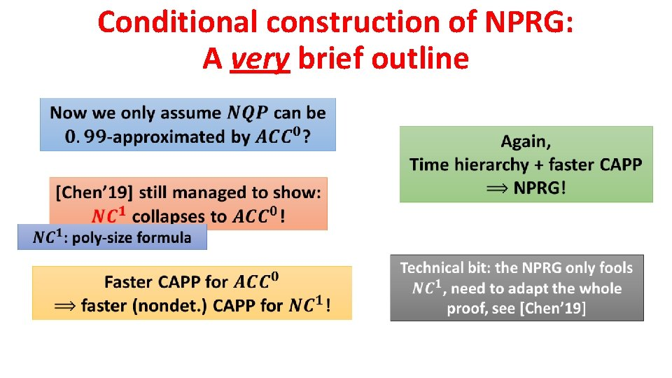 Conditional construction of NPRG: A very brief outline