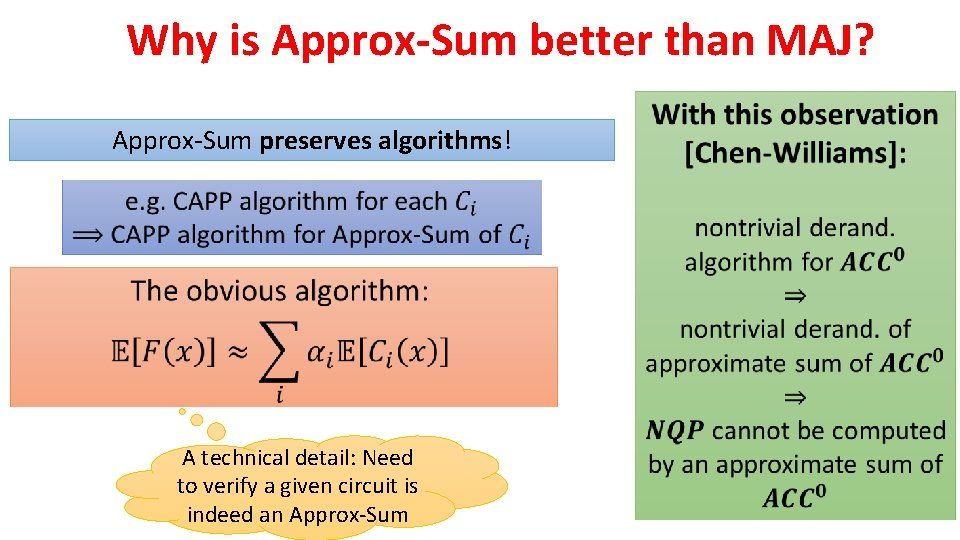 Why is Approx-Sum better than MAJ? Approx-Sum preserves algorithms! A technical detail: Need to