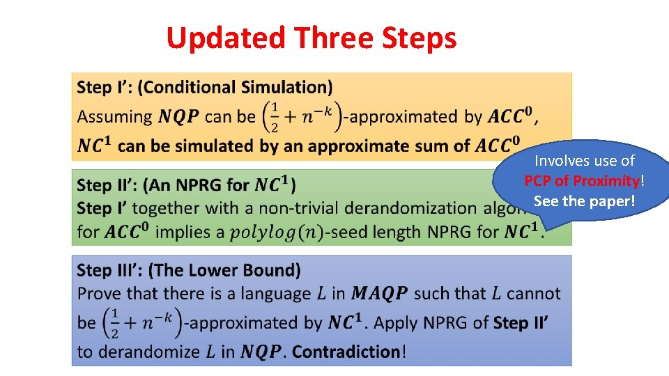 Updated Three Steps Involves use of PCP of Proximity! See the paper!