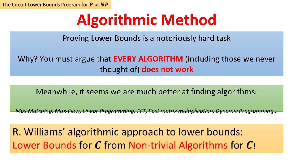 Algorithmic Method Proving Lower Bounds is a notoriously hard task Why? You must