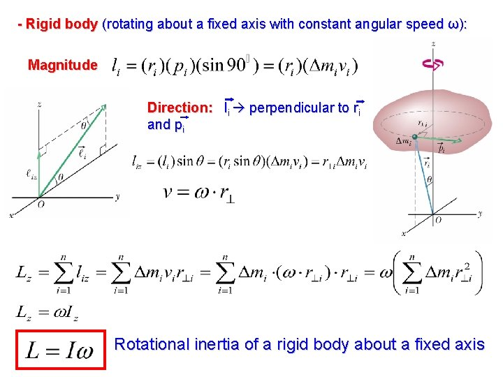 - Rigid body (rotating about a fixed axis with constant angular speed ω): Magnitude