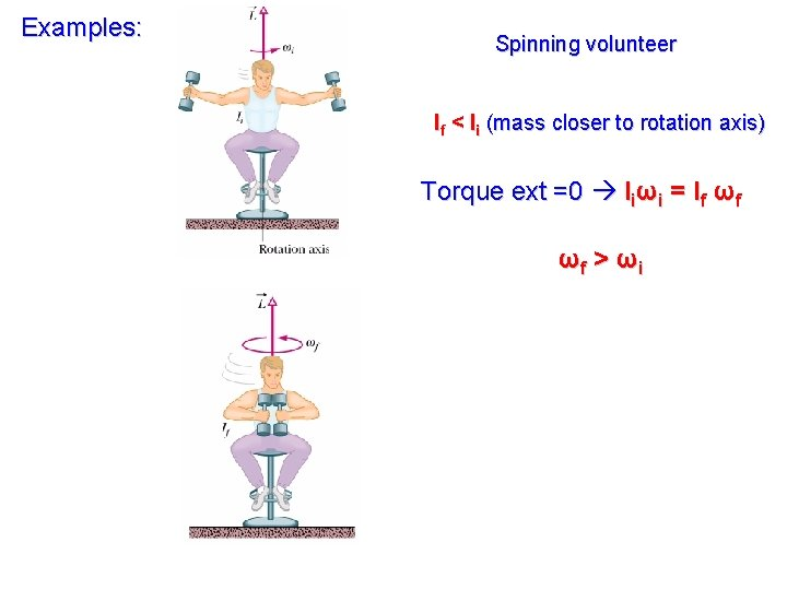 Examples: Spinning volunteer If < Ii (mass closer to rotation axis) Torque ext =0