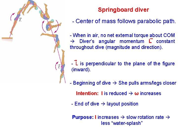 Springboard diver - Center of mass follows parabolic path. - When in air, no
