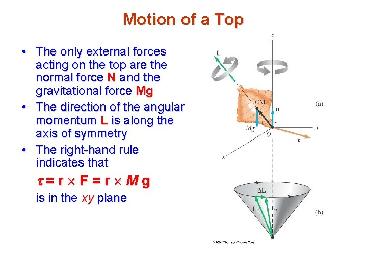 Motion of a Top • The only external forces acting on the top are