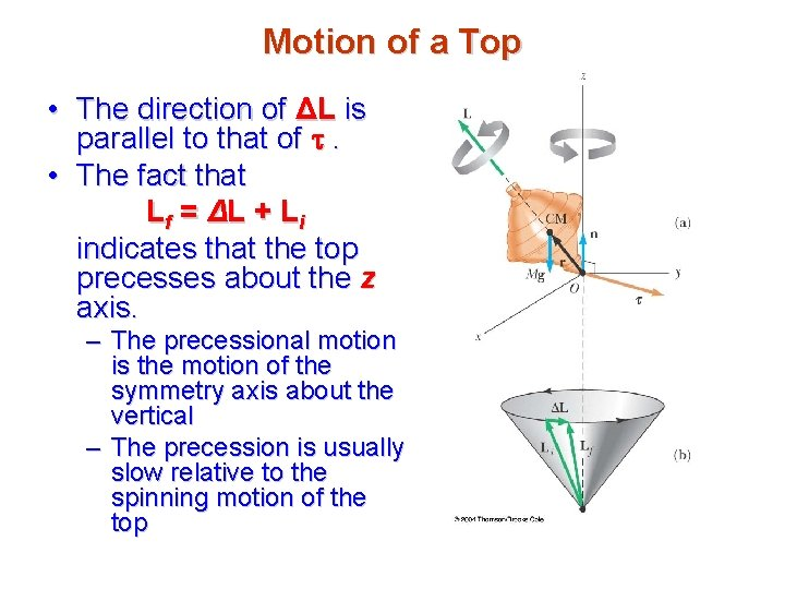 Motion of a Top • The direction of ΔL is parallel to that of