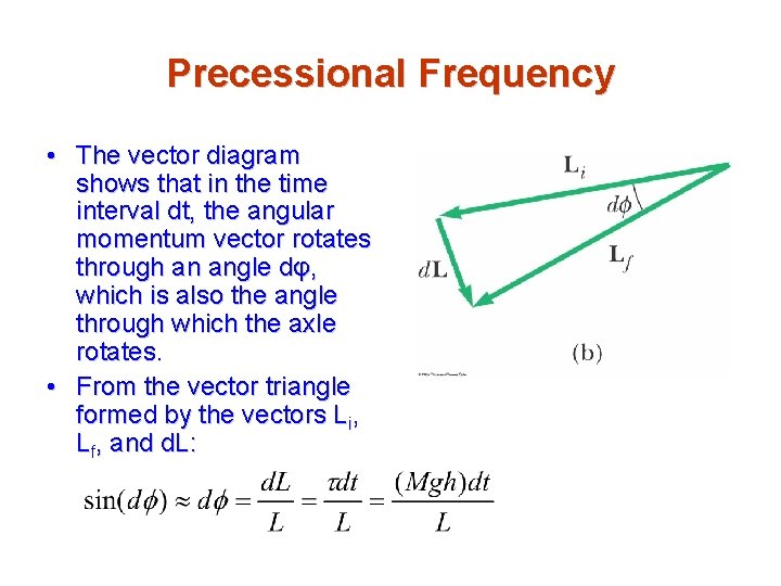 Precessional Frequency • The vector diagram shows that in the time interval dt, the