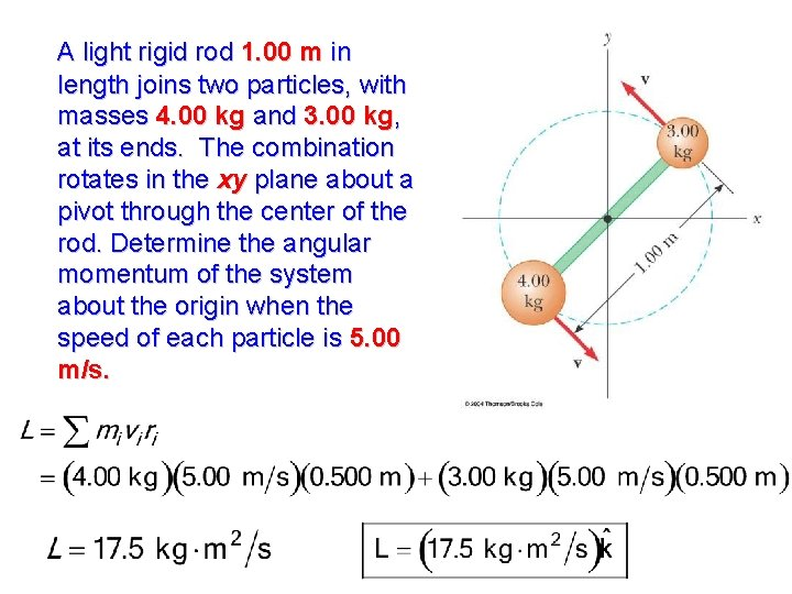 A light rigid rod 1. 00 m in length joins two particles, with masses