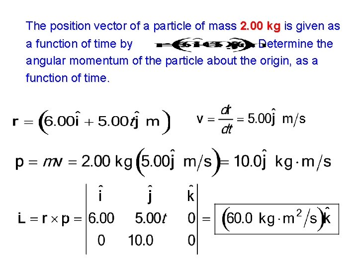 The position vector of a particle of mass 2. 00 kg is given as