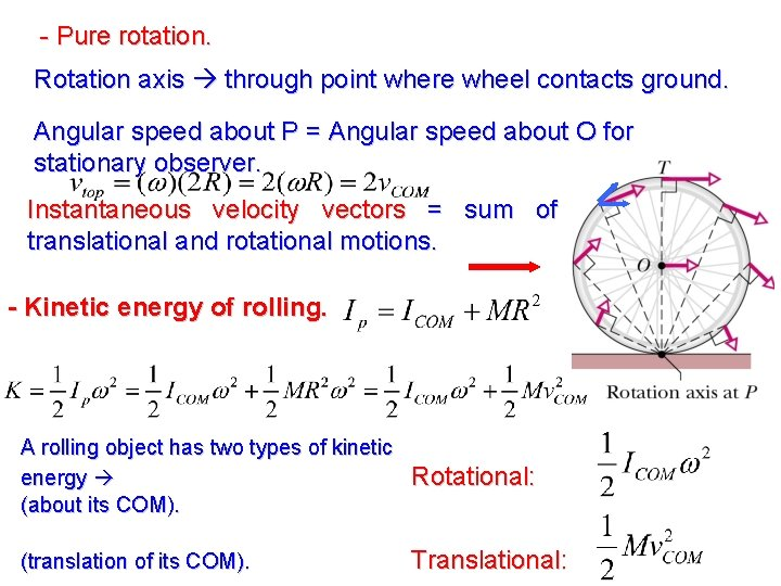 - Pure rotation. Rotation axis through point where wheel contacts ground. Angular speed about