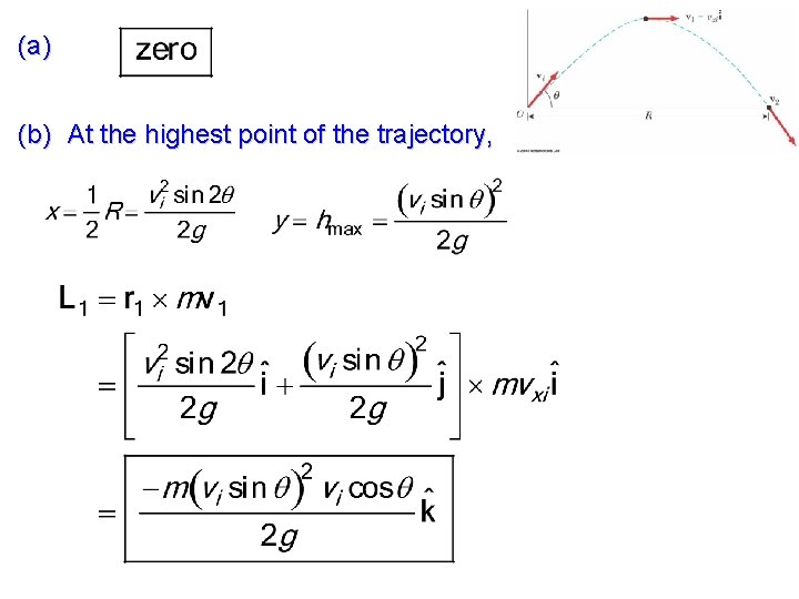 (a) (b) At the highest point of the trajectory,