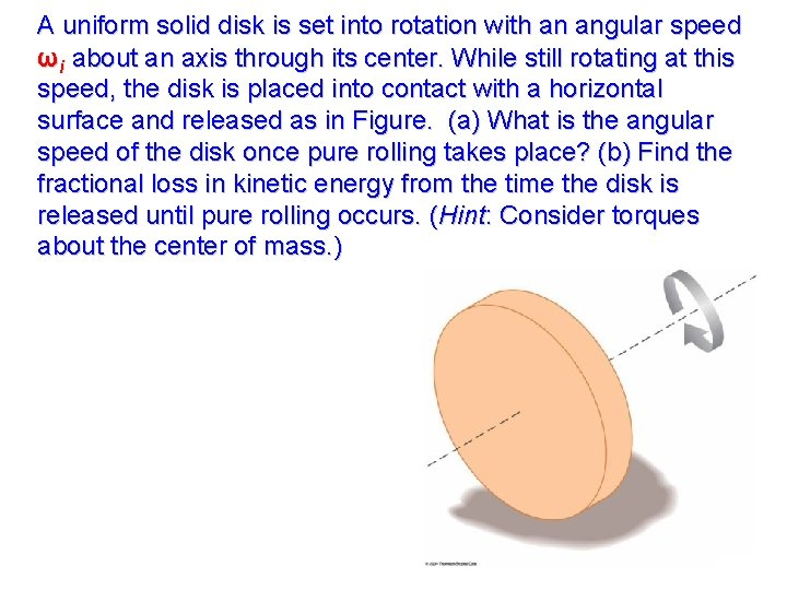 A uniform solid disk is set into rotation with an angular speed ωi about