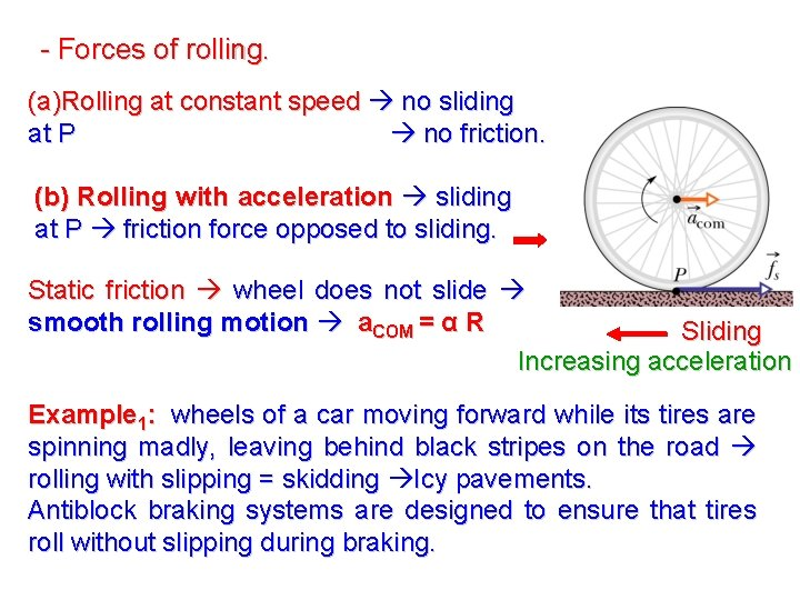 - Forces of rolling. (a)Rolling at constant speed no sliding at P no friction.