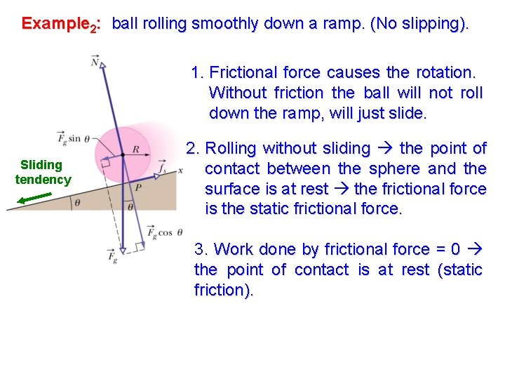 Example 2: ball rolling smoothly down a ramp. (No slipping). 1. Frictional force causes