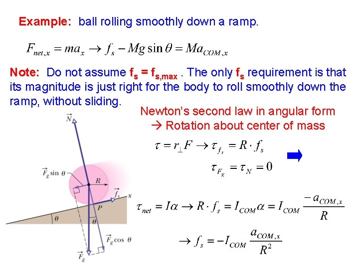 Example: ball rolling smoothly down a ramp. Note: Do not assume fs = fs,