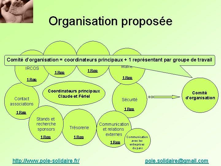 Organisation proposée Activités 11 Rep 1 Rep Comité d'organisation = coordinateurs principaux + 1