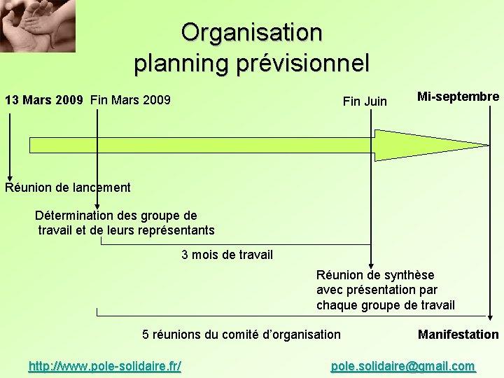 Organisation planning prévisionnel 13 Mars 2009 Fin Juin Mi-septembre Réunion de lancement Détermination des