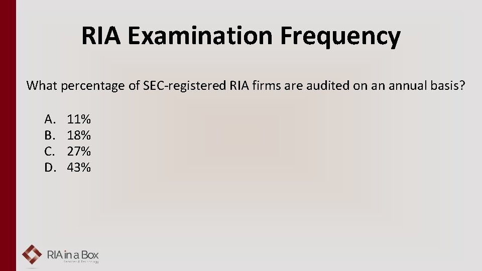 RIA Examination Frequency What percentage of SEC-registered RIA firms are audited on an annual