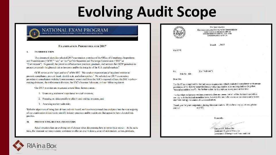 Evolving Audit Scope