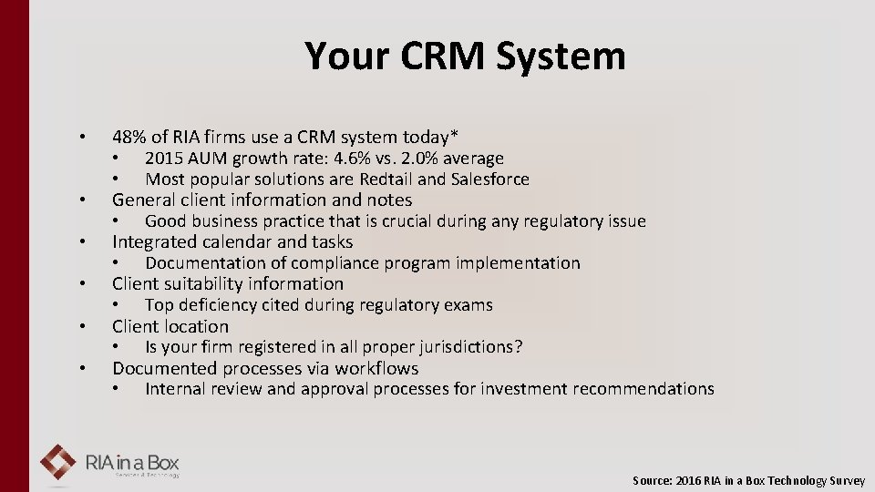 Your CRM System • • • 48% of RIA firms use a CRM system