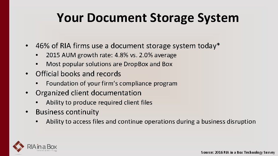 Your Document Storage System • 46% of RIA firms use a document storage system