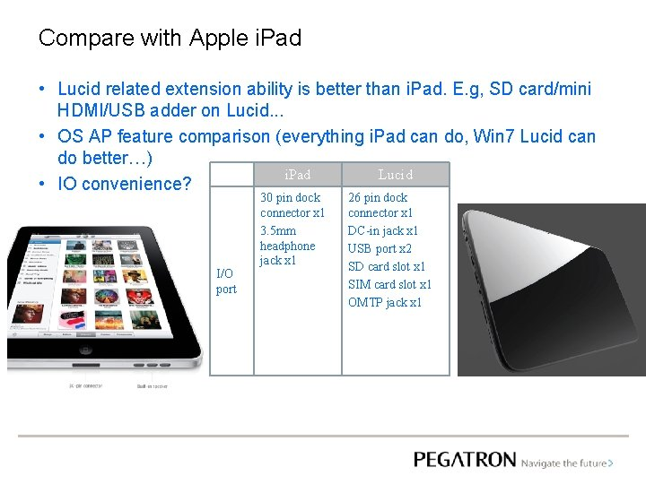 Compare with Apple i. Pad • Lucid related extension ability is better than i.