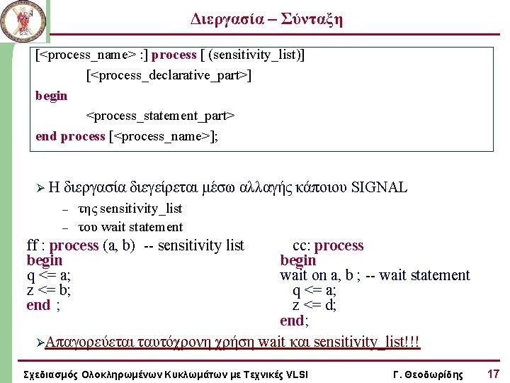 Διεργασία – Σύνταξη [<process_name> : ] process [ (sensitivity_list)] [<process_declarative_part>] begin <process_statement_part> end process