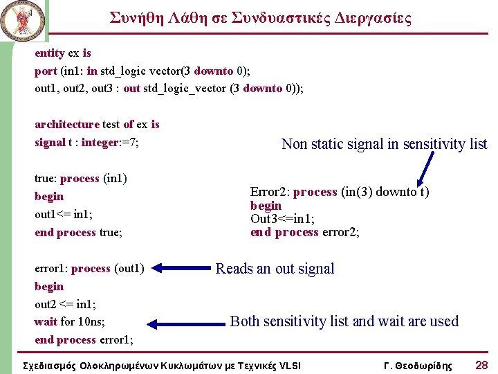 Συνήθη Λάθη σε Συνδυαστικές Διεργασίες entity ex is port (in 1: in std_logic vector(3